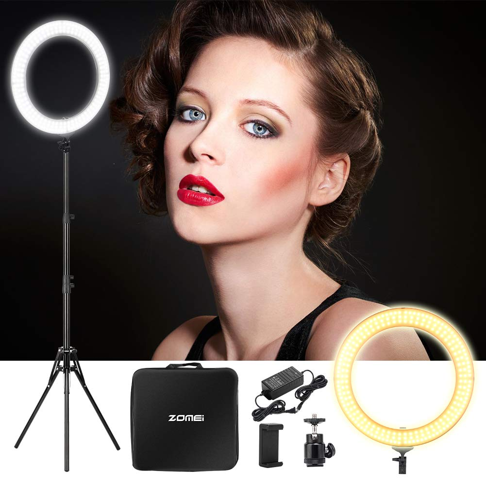 ZOMEi 18'' Dimmable LED Ring Light, 5500k Output YouTube Video and Makeup Ring Light with Stand, Plastic Diffuser with Portable Carrying Bag by ZoMei