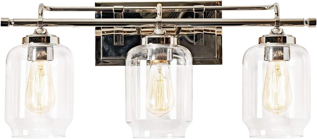 Ul Motini 3 Light Wall Sconce Bathroom Vanity Light Fixture Classic Style Polished Nickel Finish With
