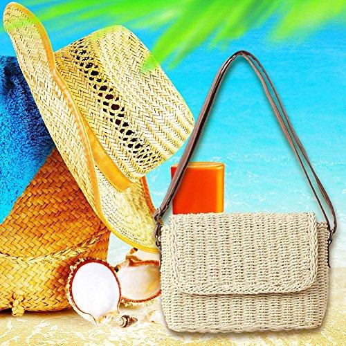 et rond été à pour plage bandoulière Funihut beiges sacs en Sac de femme paille ngxq0vSw1