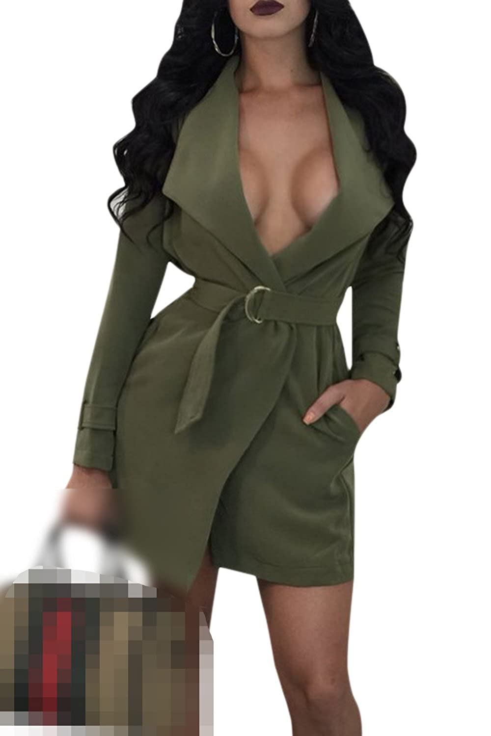 Women's Lapel Open Front Cardigan Trenchcoat With Belt Pockets CATNWNY13