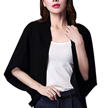 Image Unavailable. Image not available for. Color  SellerFun Women Elegant  Spring Fall Sweater Knitted Batwing Pure Color Cardigan(Black ... 2ef1646e6