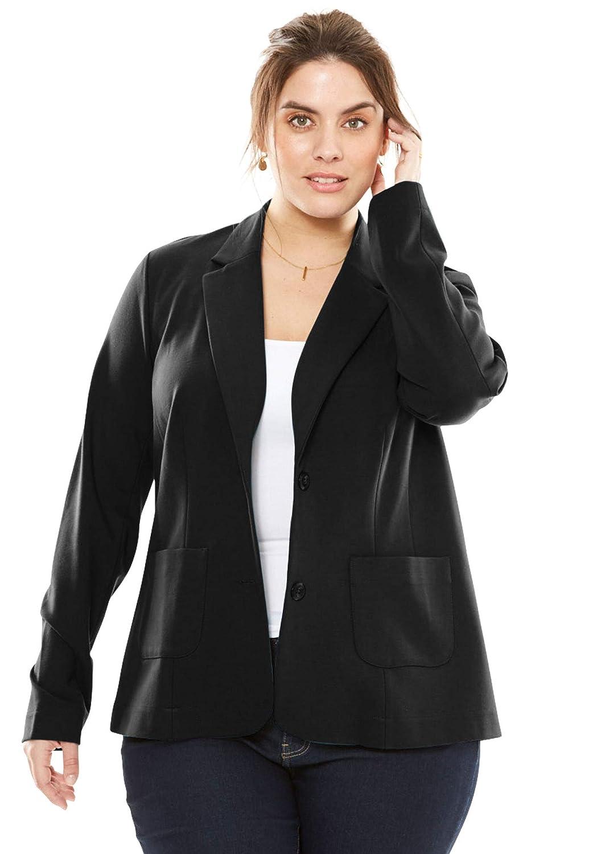 Jessica London Womens Plus Size Ponte Knit Blazer with Notch Collar
