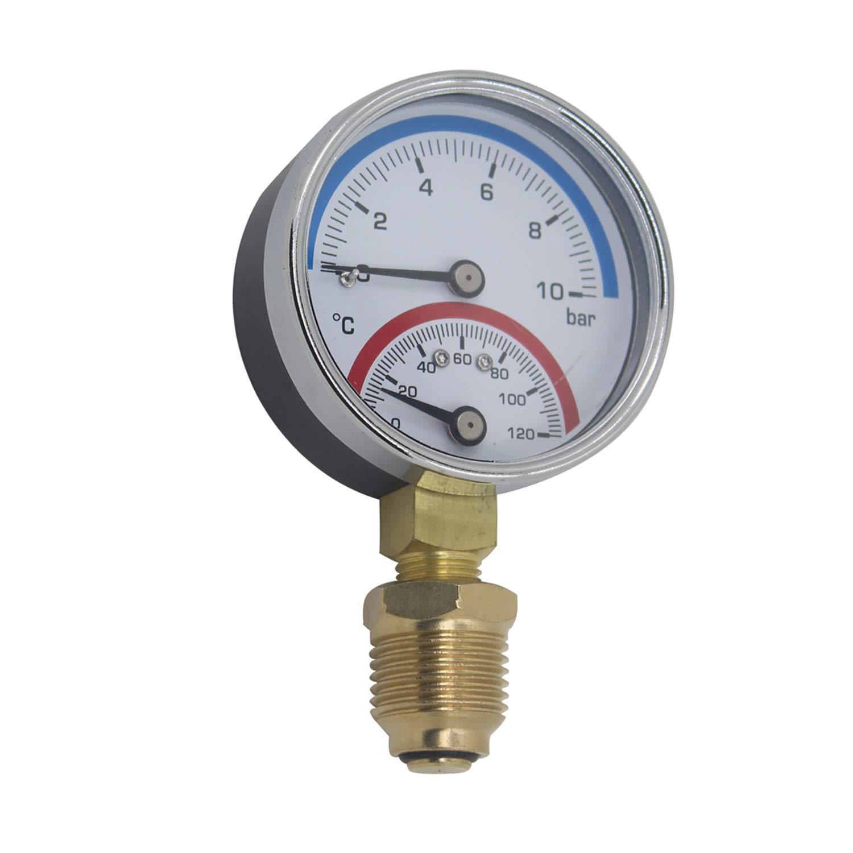 Termomanometro 63mm 80mm manometro temperatura y presion termometro caldera rosca radial 0~6 0~10 0~16 bar 1/4 1/8 pulgada (63mm 0-10bar 1/4