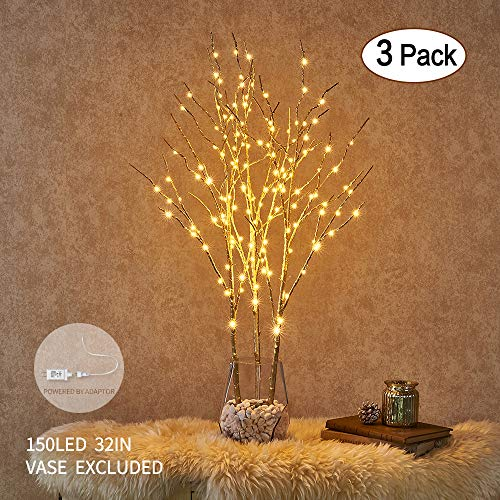 Tree Gold Branch (Hairui Lighted Golden Willow Branch with Micro LED Lights 32in 150LED Plug in Pre Lit Twig Branches Indoor Outdoor Use 3 Pack Golden (Vase Excluded))