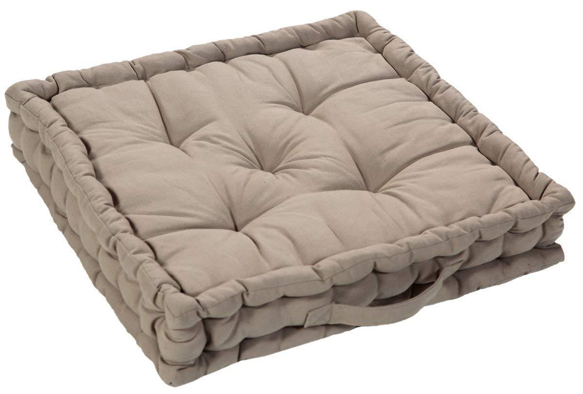 EHC 100% Cotton Large Quilted Booster Cushions Seat Dinner Chair Arm Chair Pad, 50 x 50 x 10cm - Latte Elite Housewares E9-CTBSTR5010LA