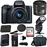 Canon EOS M50 15-45mm f/3.5-6.3 IS STM Mirrorless Digital Camera (Black) with Bounce Zoom Swivel TTL Flash and 64GB Bundle