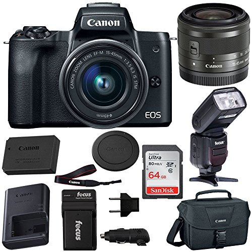 Canon EOS M50 15-45mm f/3.5-6.3 IS STM Mirrorless Digital Camera (Black) with Bounce Zoom Swivel TTL Flash and 64GB Bundle by Canon