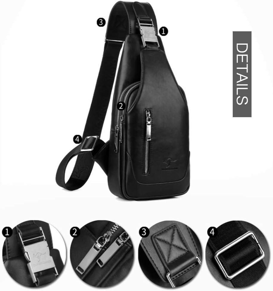 Black-264 Leathario Men leather Chest Bag Shoulder Bag Crossbody Casual Bag Pack Multipurpose