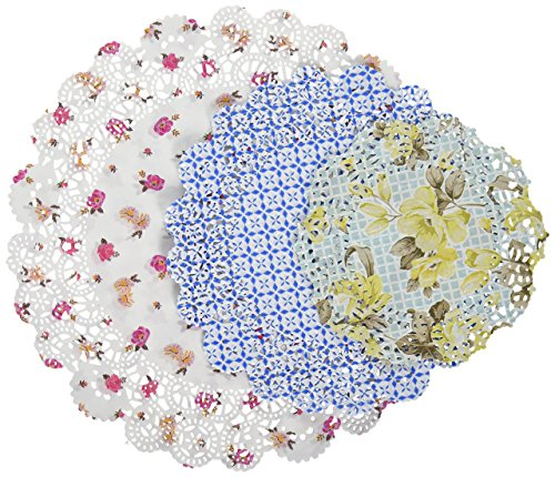 Talking Tables Truly Scrumptious Floral Paper Doilies for a Tea Party, Multicolor (24 Pack)