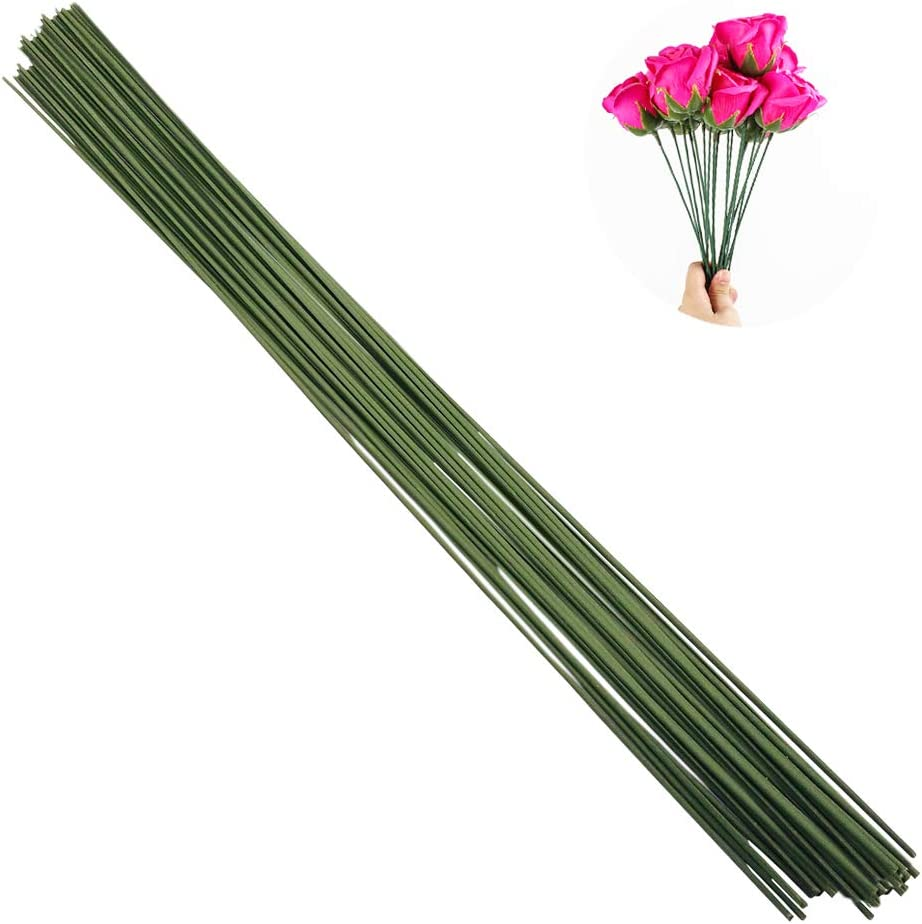 B075MG8TRN Arlai Pack of 50, Diameter 2mm Dark Green Paper Wrapped Floral stem Wire 16 Inch Floral Stem Wire - DIY Bouquet Stem Wrapping and Crafts 614apBOkgBL