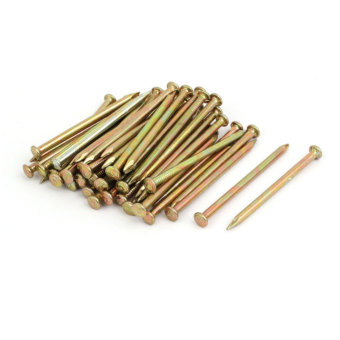 uxcell Fiber Concrete Cement Wall Steel Point Tip Wire Nails 70mm Length Bronze Tone 50PCS