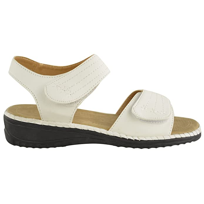 73c34987fa8 LADIES WOMENS VELCRO COMFORT CASUAL WALKING FLAT SUMMER SANDALS SIZE   Amazon.co.uk  Shoes   Bags