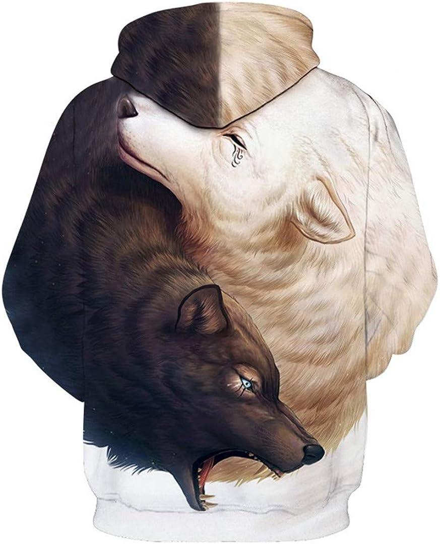 Unisexe Noir Blanc Loup Carte Graphique 3D Yin Yang Hoodies Pull Plus Taille Pull