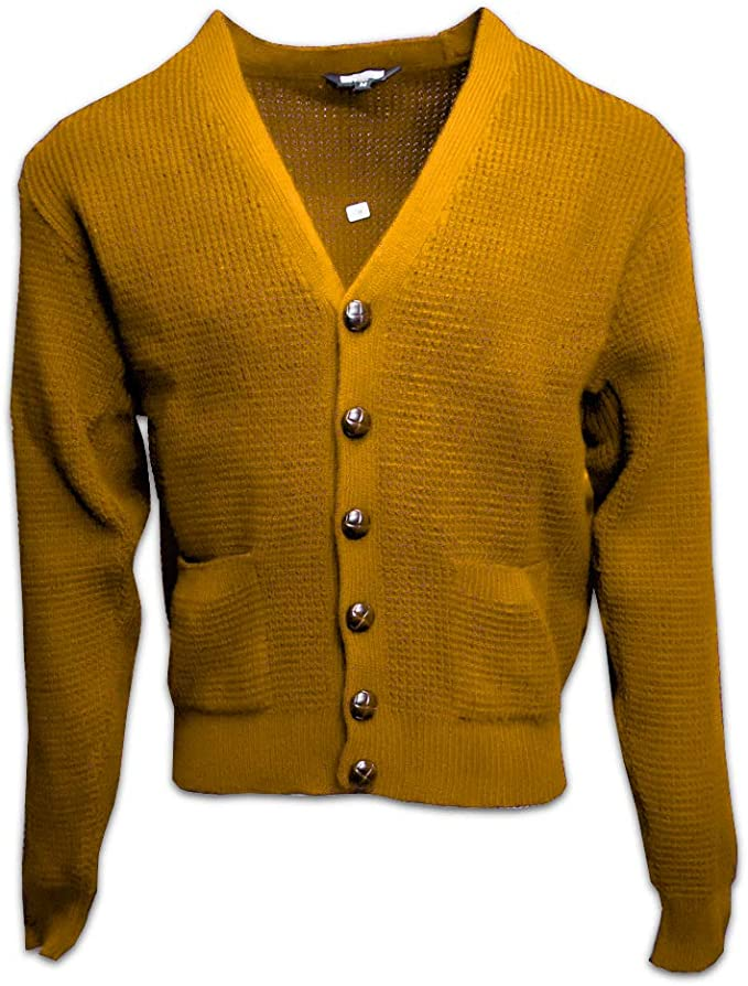 Men's Vintage Sweaters, Retro Jumpers 1920s to 1980s Relco Mens Waffle Knit Retro 60s Button Cardigan $42.95 AT vintagedancer.com