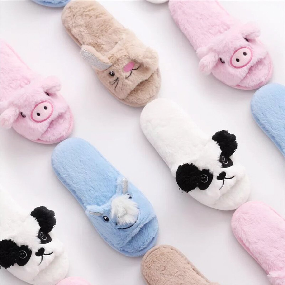Womens Open Toe Slippers | Cute Bunny Unicorn Animal Slipper | Soft Fleece Memory Foam Clog | Anti-Slip Sole Indoor Outdoor Shoes | Flip Flop Spa Slippers (9-10, BrownBunny) by Caramella Bubble (Image #8)