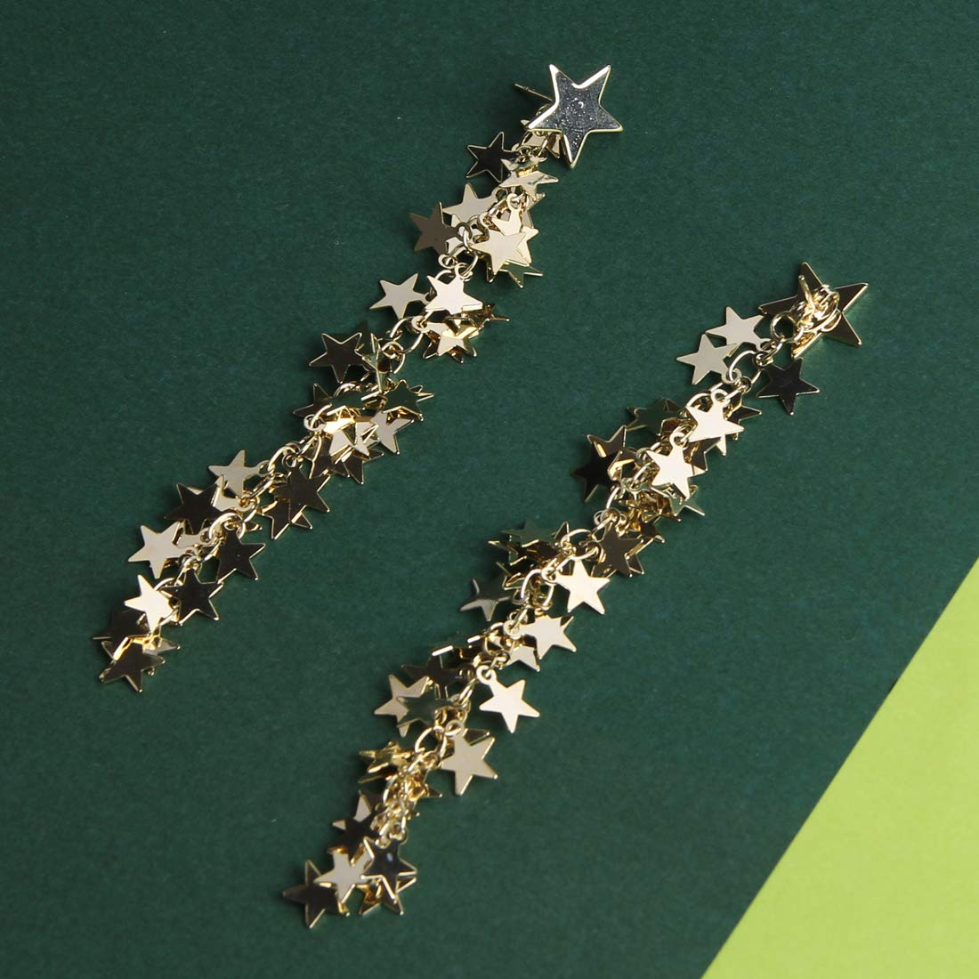 Yeslady Gold Plated Shiny Star Earrings Fashion Ball Party Queen Tassel Dangle Drop Earrings Christmas Gift