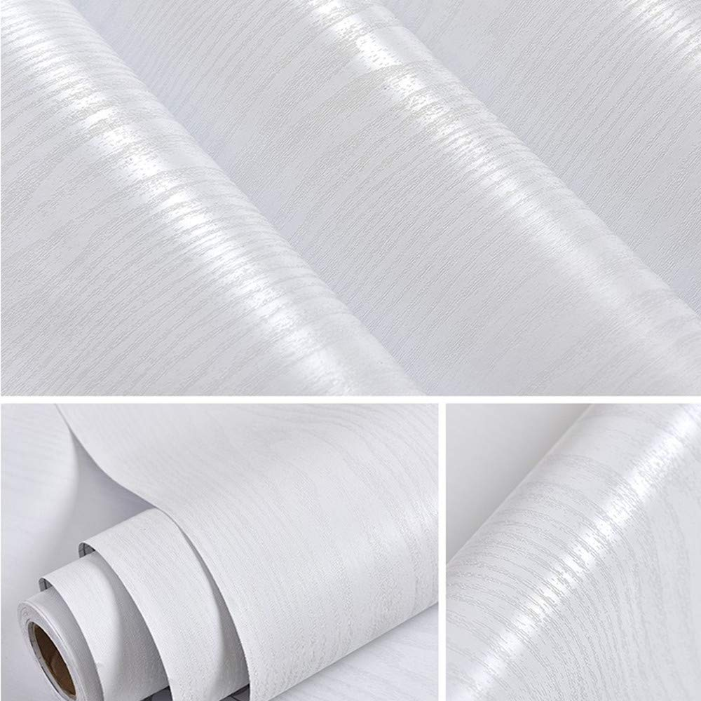 Hode White Wood Contact Paper for Furniture 30X200cm Self Adhesive Vinyl Sticker White Sticky Back Plastic Roll for Kitchen Counter,White Wallpaper