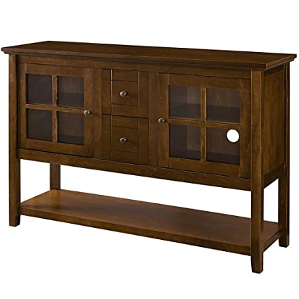 Exceptionnel Sideboard Buffet Cabinet Glass Doors Foyer Entry Console Table With Storage  And Drawers TV Stand Buffet