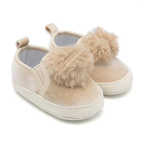 YanHoo Zapatos para niños Bebé Color sólido Bola de Pelo Esponjoso Zapatos para niños pequeños Zapatos de Princesa Niñas Cuna Flock Ball Prewalker Suela ...