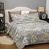 "Bedsure Printed Quilt Coverlet Set Bedspread King Size (106""x96"") Original Floral Patchwork Design Lightweight Hypoallergenic Microfiber by"