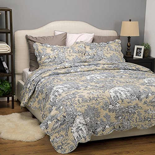 Buy Bargain Bedsure Printed Quilt Coverlet Set Bedspread Full/Queen Size (86x96) Original Floral P...