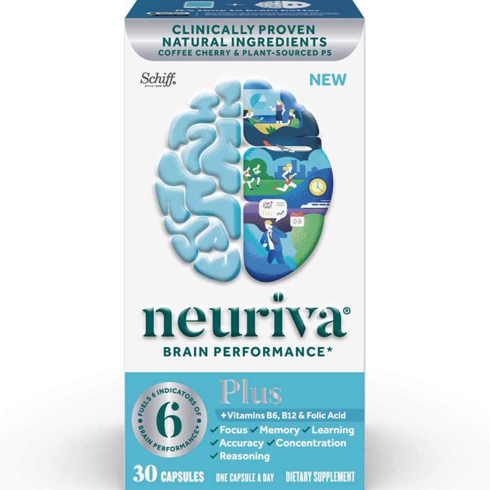 Brain Support Supplement - NEURIVA Plus (30 count in a bottle), Plus B6,  B12 & Folic Acid, Supports 6