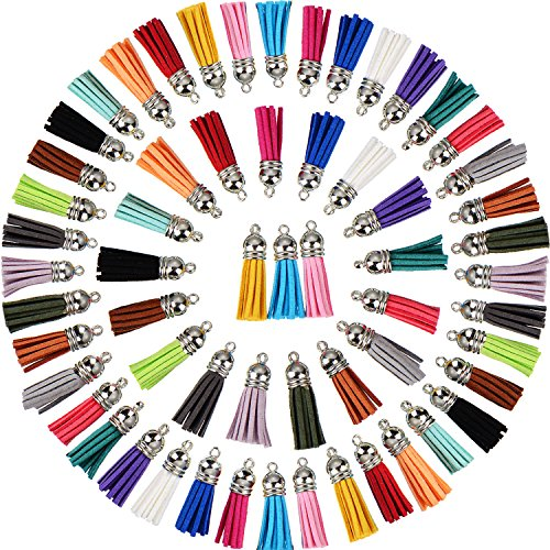 Satinior 100 Pieces 40 mm Leather Tassel Pendants Faux Suede Tassel with Caps for Key Chain Straps DIY Accessories, 20 Colors (Plastic Tassels)