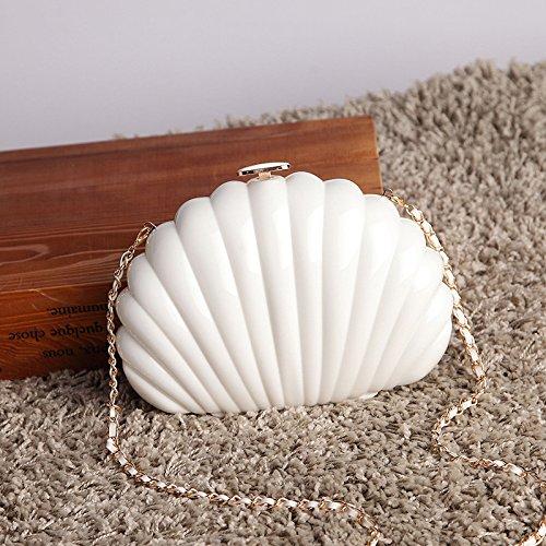 Meoaeo Nueva Moda Bolsos De Mano Shell Agarradero Mini Paquete Blanco white