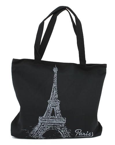 LSW Eiffel Tower Canvas Shoulder Tote Bag (Black): Handbags ...