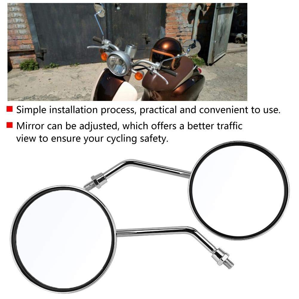 KIMISS 1 Paar 8mm Rechte und Linke Seite Motorrad R/ückspiegel Runde Motorrad R/ückspiegel Galvanik ist geeignet f/ür DIY Modifikation Runder Motorradspiegel