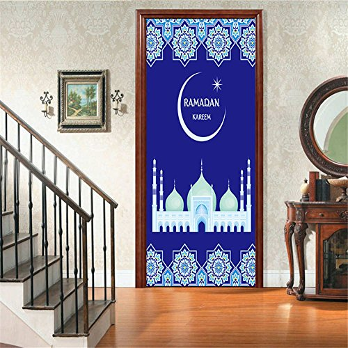 BIBITIME Islamic RAMADAN KAREEN Muslim Door Sticker Geometric Pattern Castle Moon Star Symbol Wall Decal 38.5 cm x 200 cm (2 Sheets) Living Room Wallpaper Art Murals (Special 200 Media Sheet)