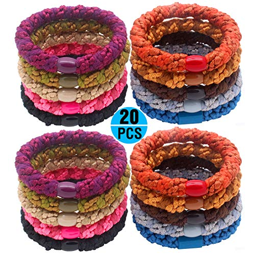 Fashion & Lifestyle 20 Pcs Large Hair Ties Pony Ponytail Holders for Thick Hair - Stretchy Elastics Hair Bands Boutique Woven Ropes for Women and Girls, Vivid
