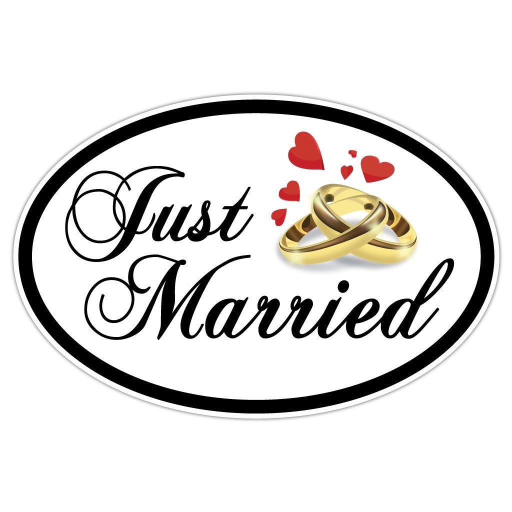 VictoryStore Magnets - Just Married Oval Car Magnet, Set of 2, Size 18'' x 24'' by VictoryStore