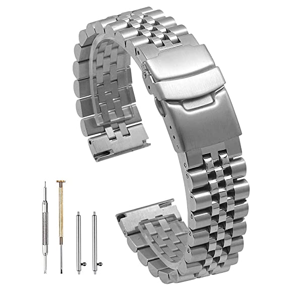 Amazon.com: Correa de reloj de acero inoxidable sólido de ...