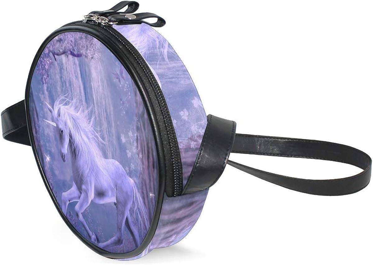 KEAKIA Forest Unicorn Round Crossbody Bag Shoulder Sling Bag Handbag Purse Satchel Shoulder Bag for Kids Women