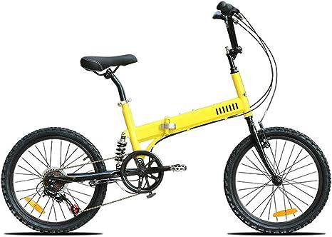 Bicicleta Plegable, Ligero Y Plegable De Aluminio De Bicicletas Dobles Pedales del Freno De Disco Al Aire Libre por Carretera Tour De Bicicletas para Adultos Niños Estudiante,Amarillo: Amazon.es: Deportes y aire libre