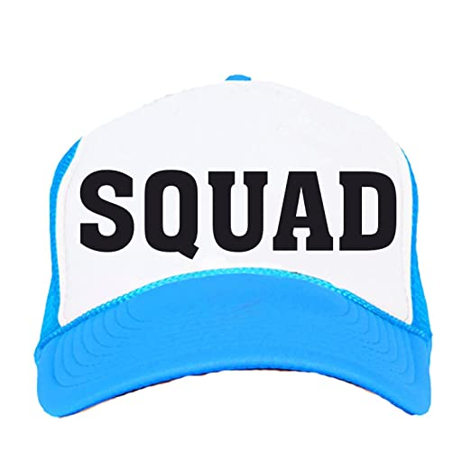 7ef44f8cc1c Bride Squad Neon Trucker Snapback Hats Bachelorette Party Neon Blue. Roll  over image to zoom in. Custom Apparel R Us