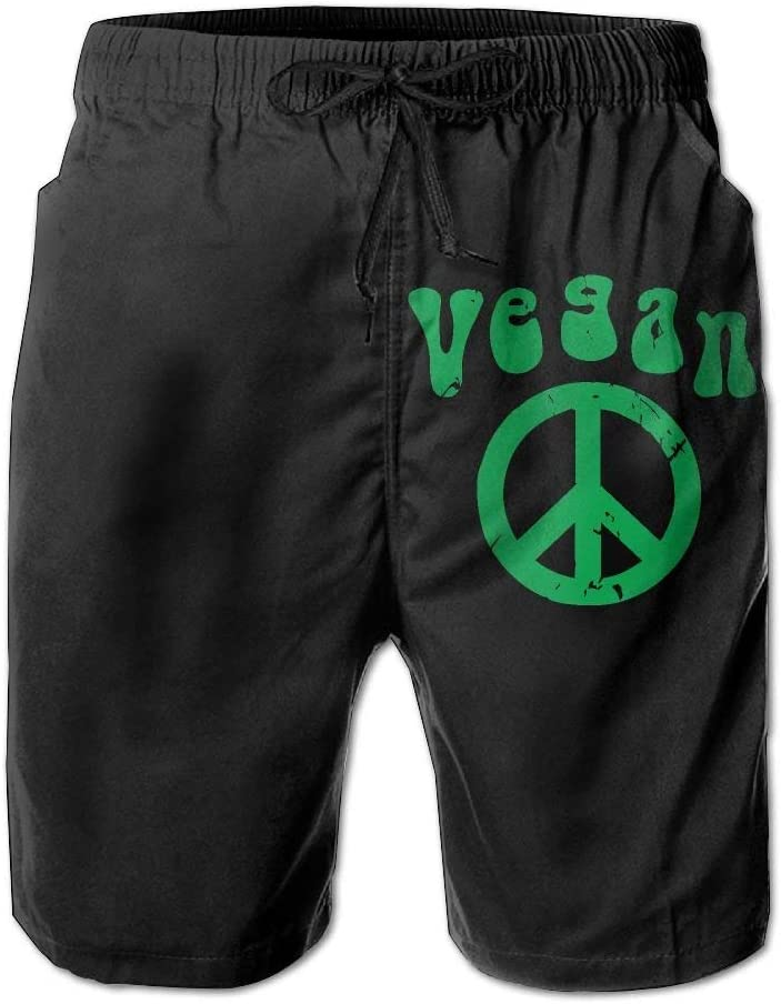 Vegan Peace Mens Lightweight Beach Board Shorts Casual Classic Bathing Suit with Pockets