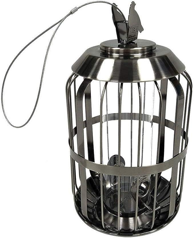 Alimentador de aves Mini alimentador Electrochapada de plata jaula del pájaro que cuelga del gancho alimentador del pájaro hardware Anti-ardilla Alimentador Colgante de Semillas de Aves Silvestre