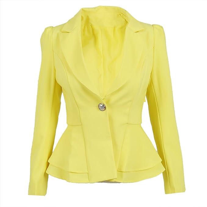 TOOGOO(R) Blazer chaqueta de moda Traje de mujer Abrigo de manga larga plegable Chaqueta de color caramelo Chaquetas Blazers Vogue boton unico -Amarillo, ...