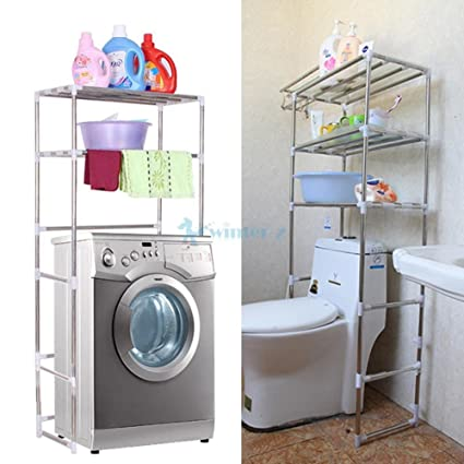 Amazon.com: 3-Shelf Over Toilet Bathroom Storage Organizer Cabinet ...