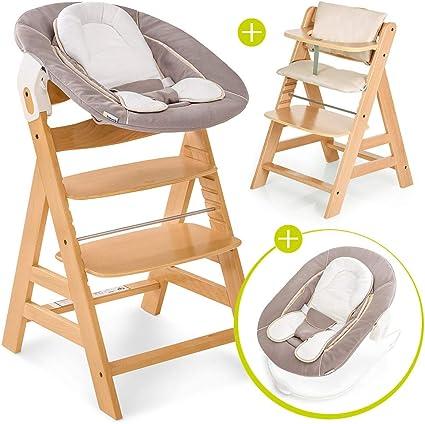Hauck Alpha Plus Newborn Set Chaise Haute Bébé en Bois Évolutive dès naissanceInclus Transat pour nouveau né, Coussin assise, Hauteur réglable