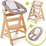 hauck alpha newborn set baby holz hochstuhl ab geburt mit liegefunktion inkl aufsatz f r. Black Bedroom Furniture Sets. Home Design Ideas