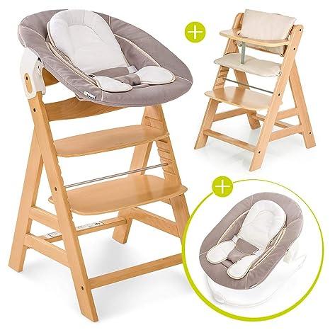 Hauck Alpha Plus Newborn Set - Trona de madera evolutiva bebés, incluye hamaca para recién nacidos, cojín gratis, altura regulable - color ...