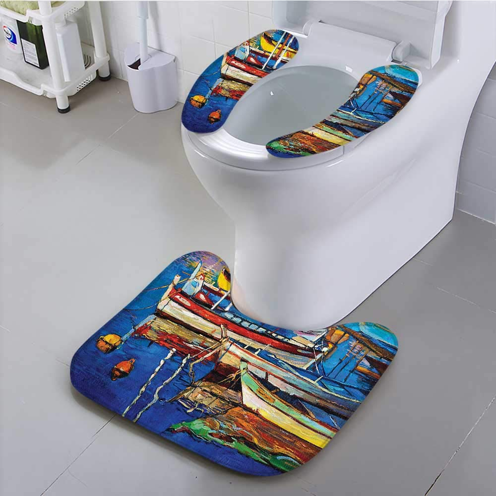 Auraisehome Universal Toilet seat Mod Folk Style Paint of Boats The Shore Golden SunCruising by The Sea Convenient Safety and Hygiene