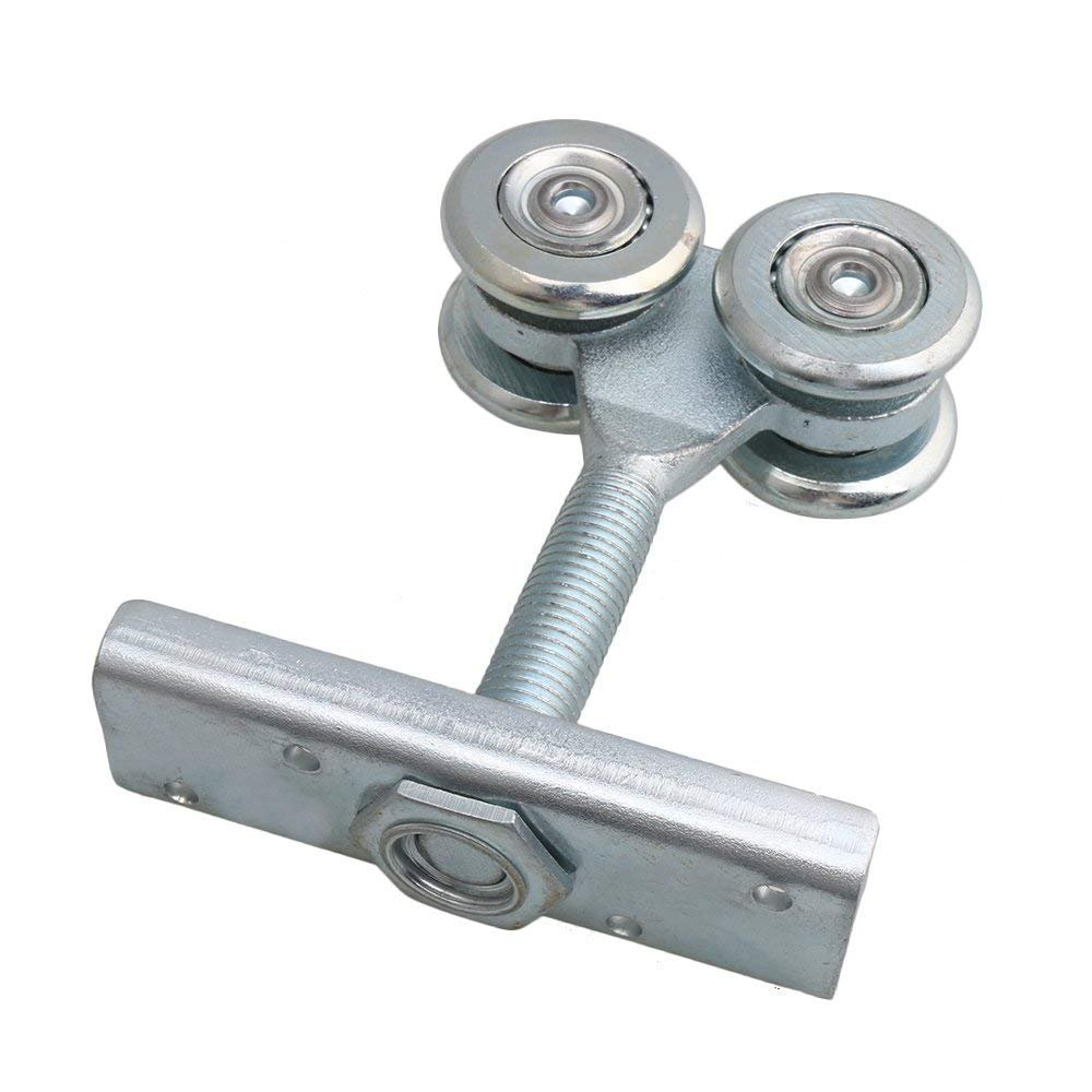 Dia 54mm Steel Double Wheel Rail Hanging Trolley Silver Sliding Track Roller Hanging Barn Door Rail Trolley Wheel H5 w/Nuts by Happynest Box Rail Hangers (Image #3)