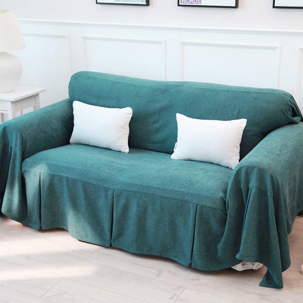 単色 フルカバー マルチカバー, な ソファカバー ソファ カバー 家具プロテクター 1 2 3 4 ソファのクッション スカート-緑 360x180cm(142x71inch) 360x180cm(142x71inch) 緑 B07MQVBKBD