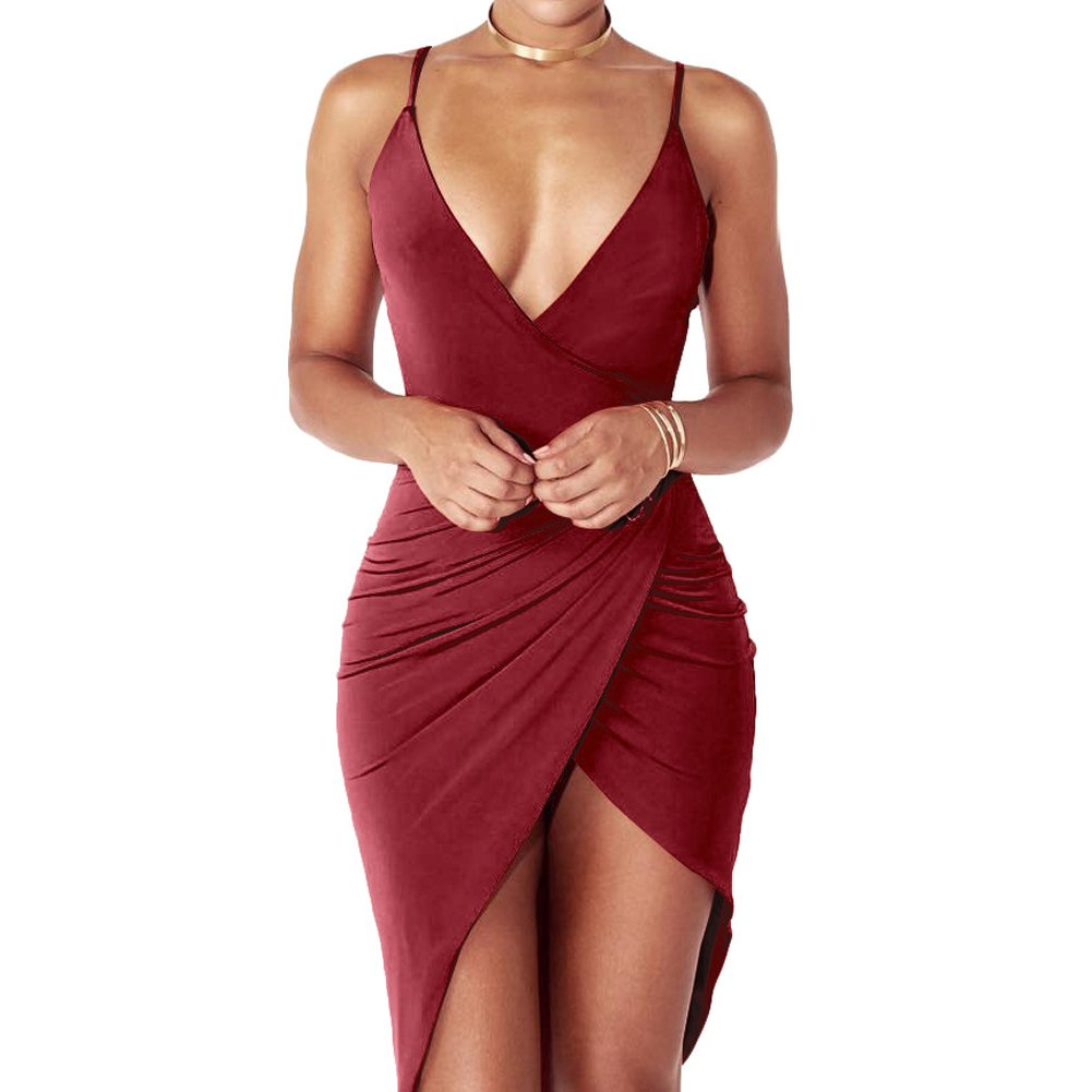 Anddyam Women s Sexy Deep V Neck Sleeveless Strap Bodycon Wrap Dress with  Front Slit Club Dresses at Amazon Women s Clothing store  24c0925cd