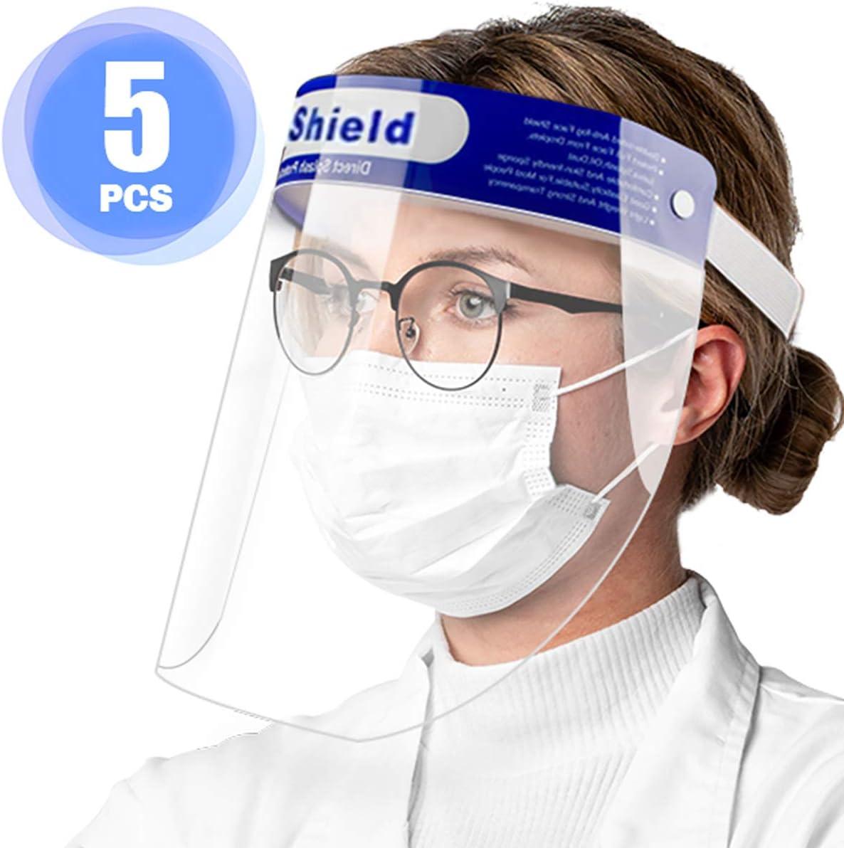 Pantalla Facial Protectora, 5 Viseras Protectoras Transparentes Ajustables de rostro Completo con Protección para ojos y cabeza, Cubierta Facial Antisalpicaduras para mujeres / hombres