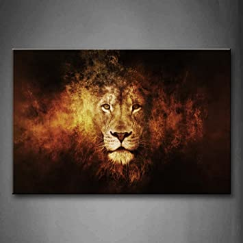 Lion head portrait wall art painting pictures print on canvas animal the picture for home modern